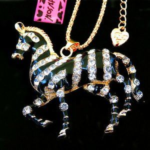Necklace- NEW- Betsey Johnson Beautiful Zebra